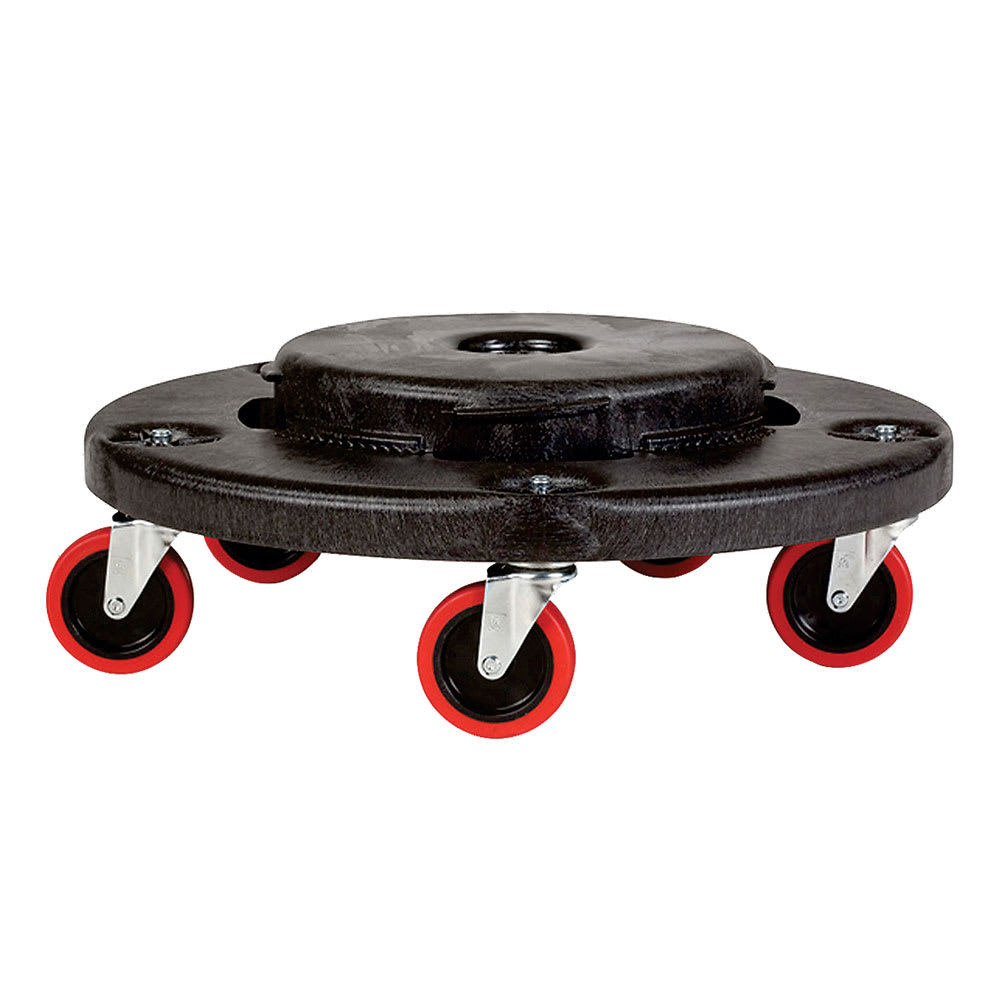 Rubbermaid FG264043BLA Round Plastic Trash Can Dolly w/ Raised Center & 350 lb Capacity