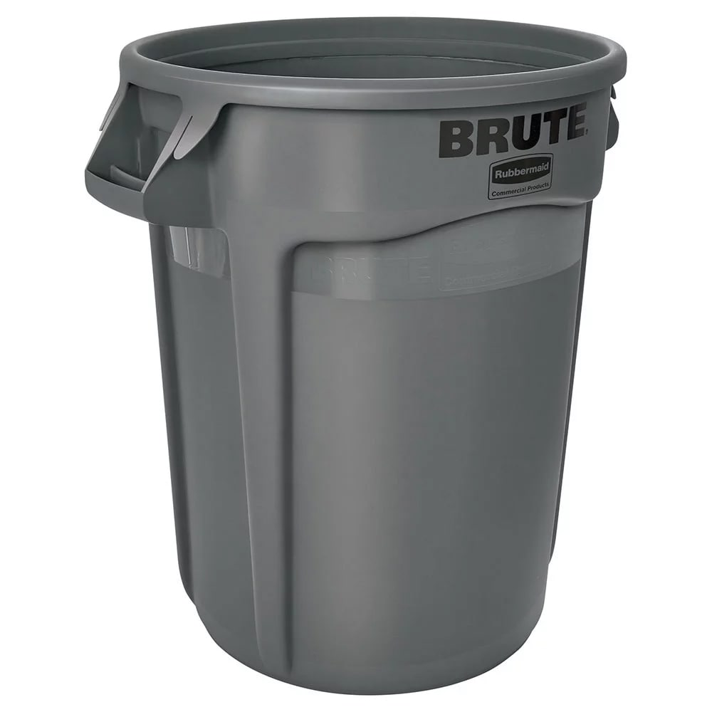 Rubbermaid FG264360GRAY 44-gallon Brute Trash Can - Plastic, Round, Food Rated