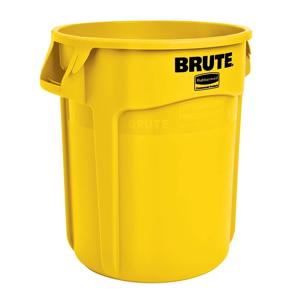 Rubbermaid FG264360YEL 44 gallon Brute Trash Can - Plastic, Round, Food Rated