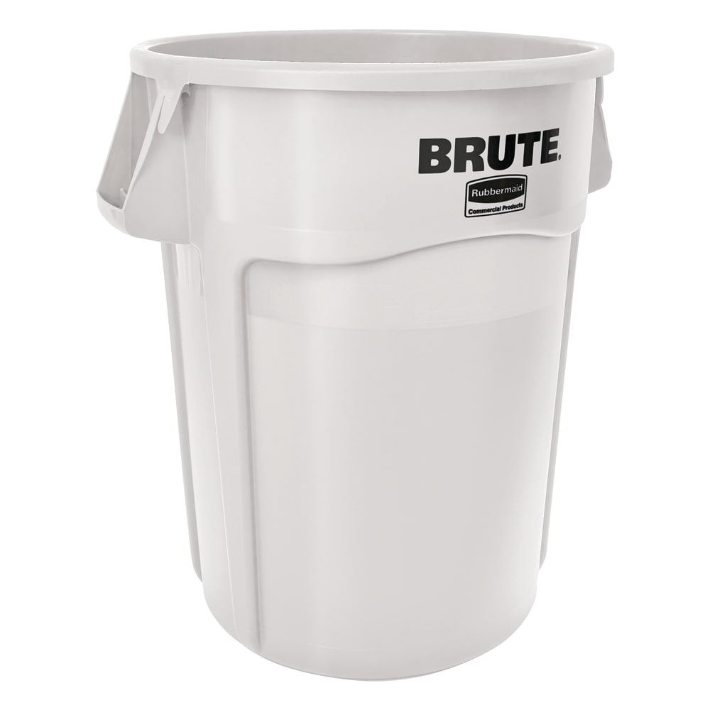 Rubbermaid FG264300WHT 44 gallon Brute Trash Can - Plastic, Round, Food Rated