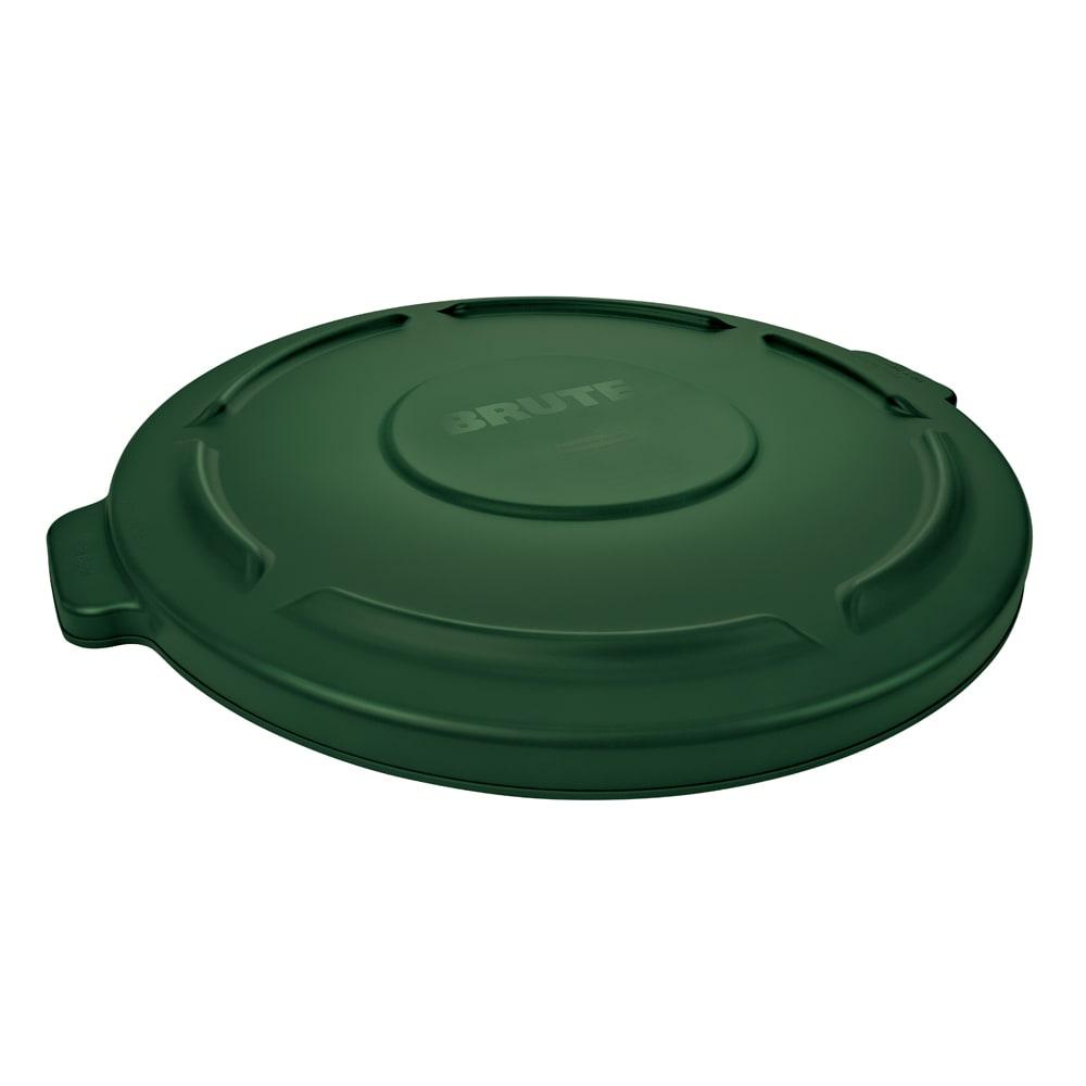 Rubbermaid 264560DGRN Round Flat Top Trash Can Lid - Plastic, Dark Green