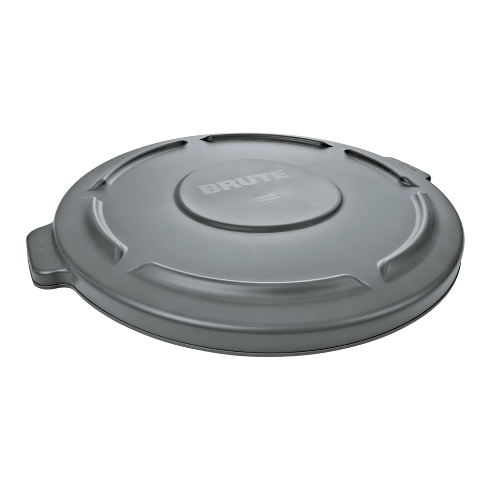 Rubbermaid FG264560GRAY Round Flat Top Trash Can Lid - Plastic, Gray