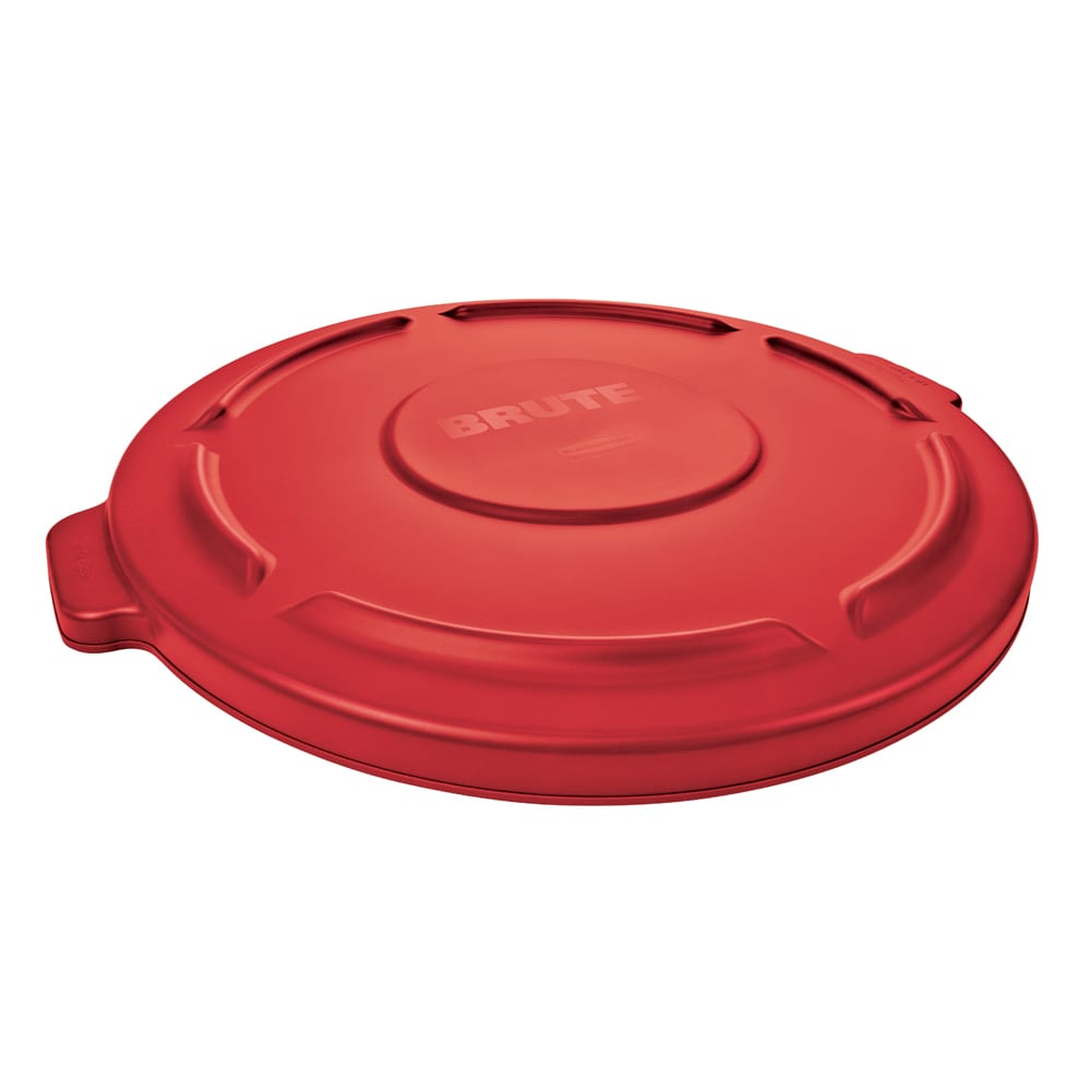 Rubbermaid FG264560RED Round Flat Top Trash Can Lid - Plastic, Red