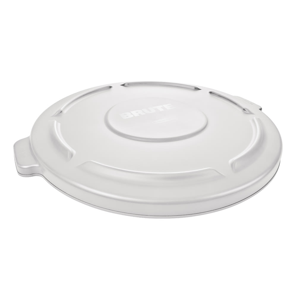 Rubbermaid FG264560WHT Round Flat Top Trash Can Lid - Plastic, White