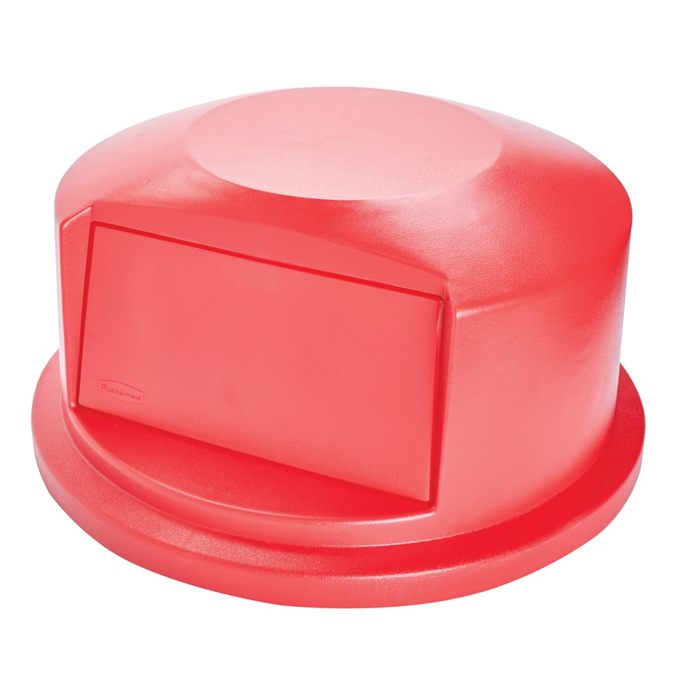 Rubbermaid FG264788RED Round Dome Trash Can Lid - Plastic, Red
