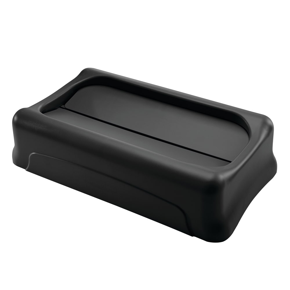 Rubbermaid FG267360BLA Rectangle Swing Top Trash Can Lid - Plastic, Black