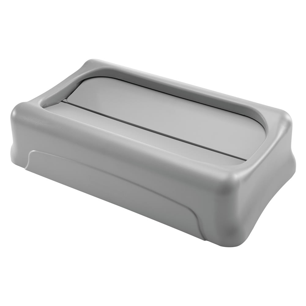 Rubbermaid FG267360GRAY Rectangle Swing Top Trash Can Lid - Plastic, Gray