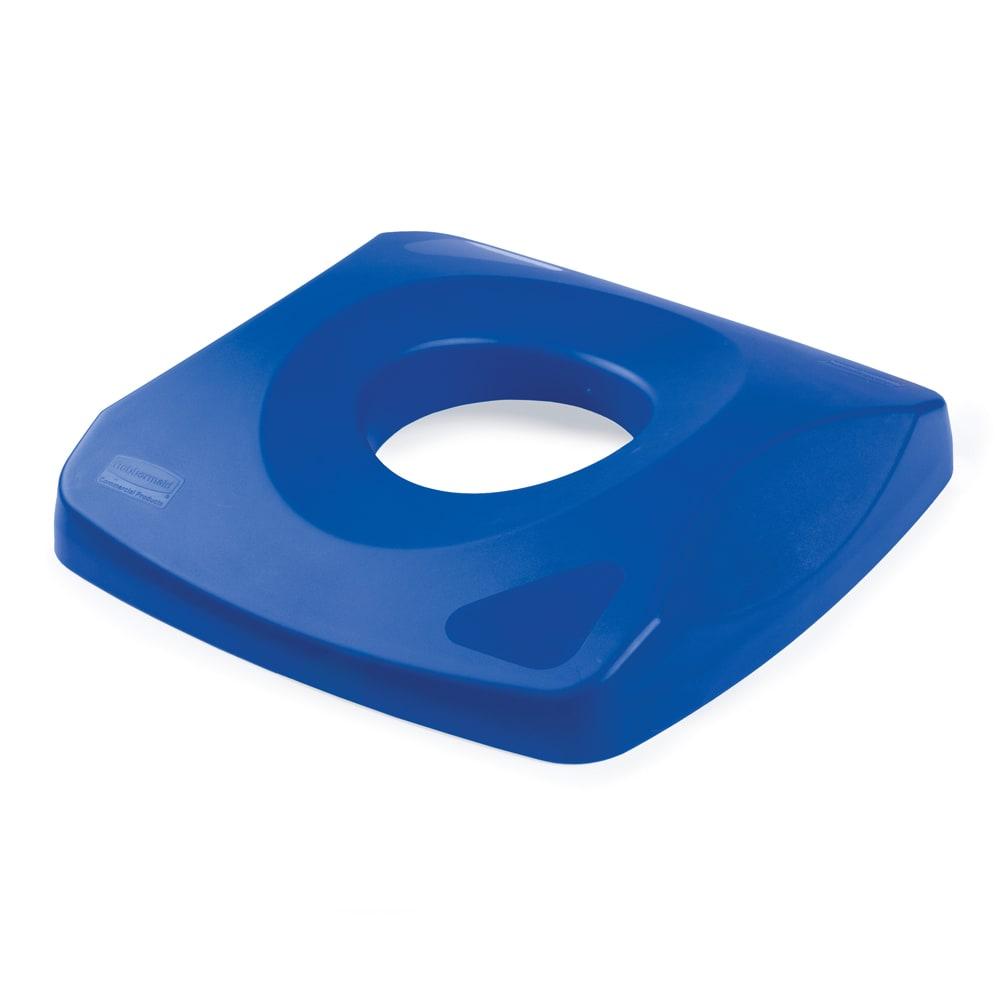 Rubbermaid FG269100BLUE Square Recycling Trash Can Lid - Plastic, Blue
