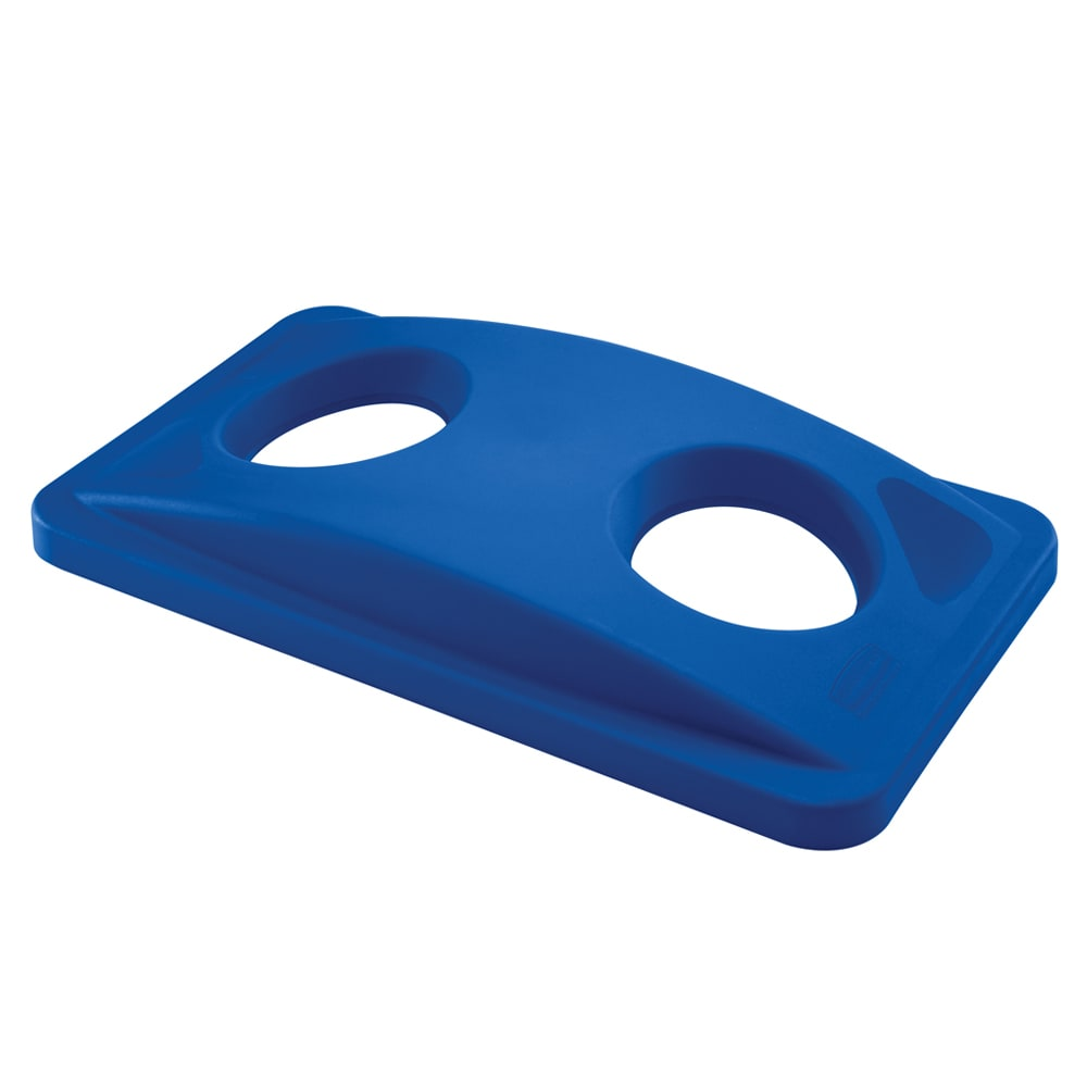 Rubbermaid FG269288BLUE Rectangle Recycling Trash Can Lid - Plastic, Blue