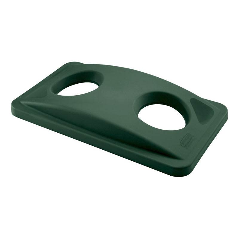 Rubbermaid FG269288GRN Rectangle Recycling Trash Can Lid - Plastic, Green