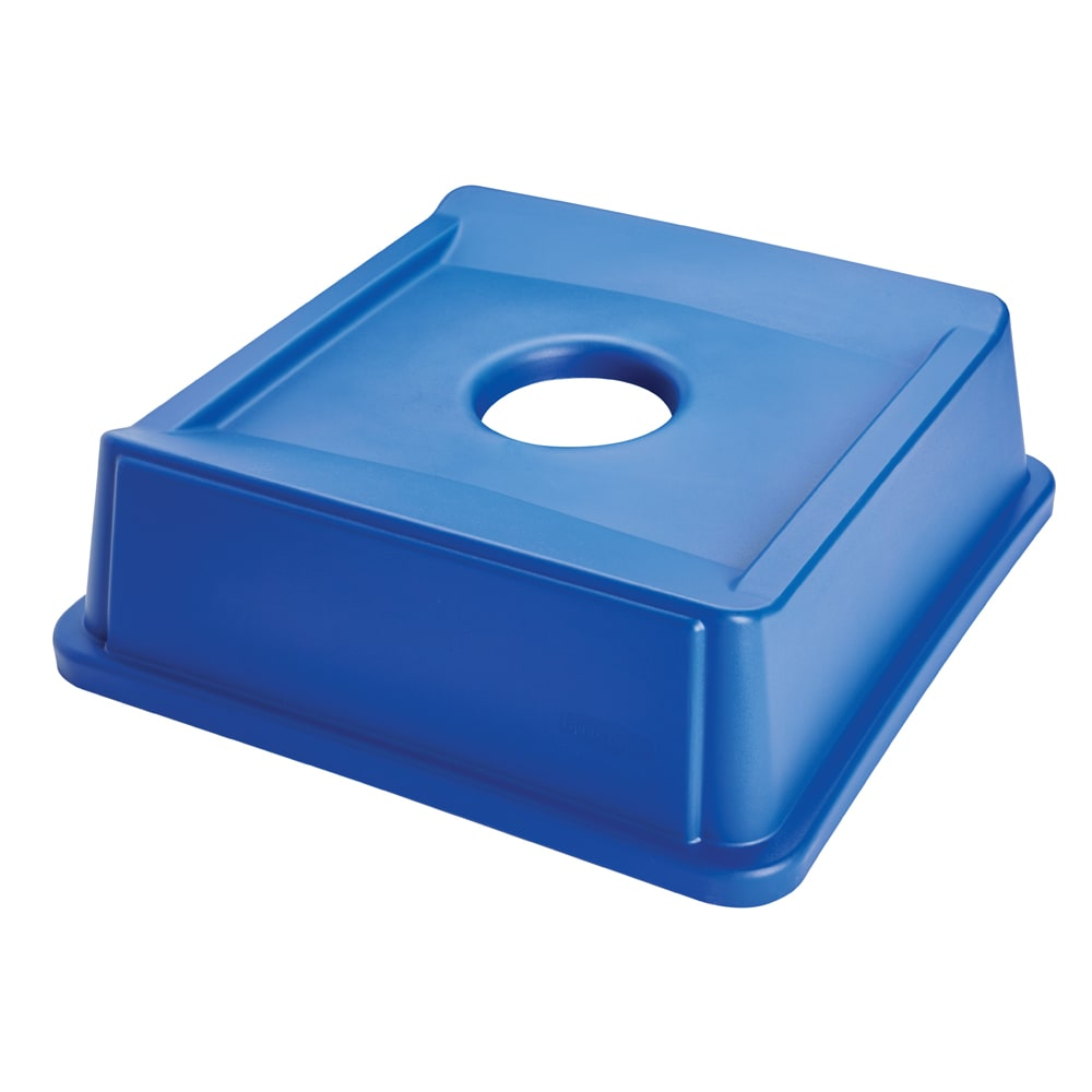 Rubbermaid FG279100DBLUE Square Recycling Trash Can Lid - Plastic, Dark Blue