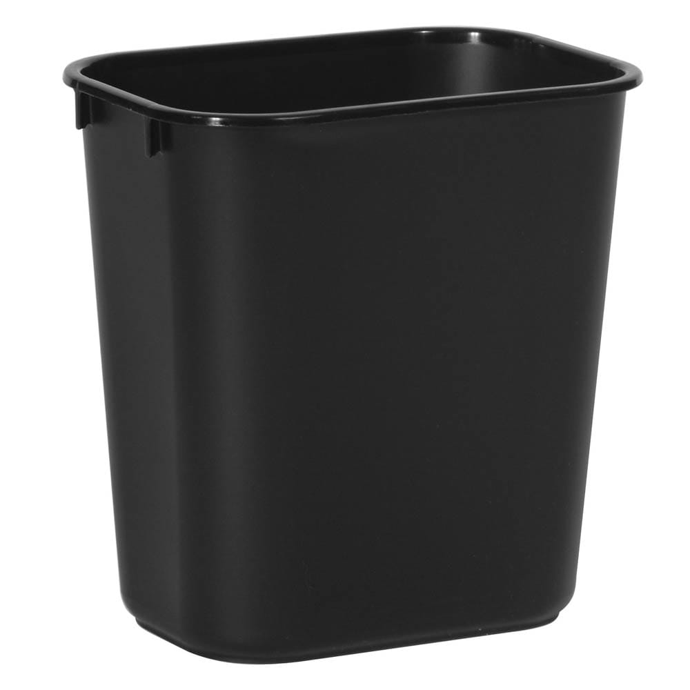Rubbermaid FG295500BLA 13.625 qt Rectangle Waste Basket - Plastic, Black
