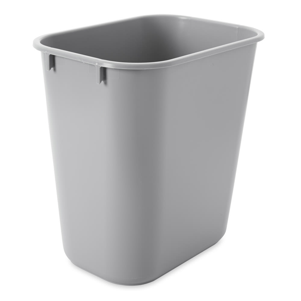 Rubbermaid FG295500GRAY 13.625 qt Rectangle Waste Basket - Plastic, Gray