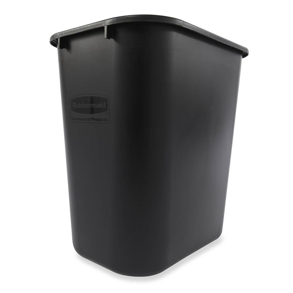 Rubbermaid FG295600BLA 28.125 qt Rectangle Waste Basket - Plastic, Black