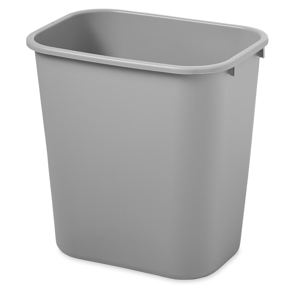 Rubbermaid FG295600GRAY 28.125 qt Rectangle Waste Basket - Plastic, Gray