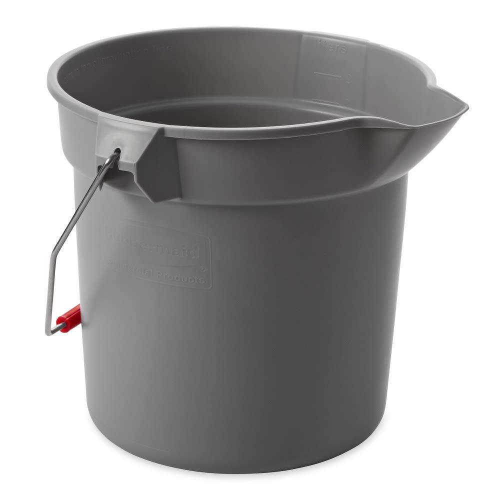Rubbermaid FG296300GRAY 10 qt Round BRUTE Bucket - Gray