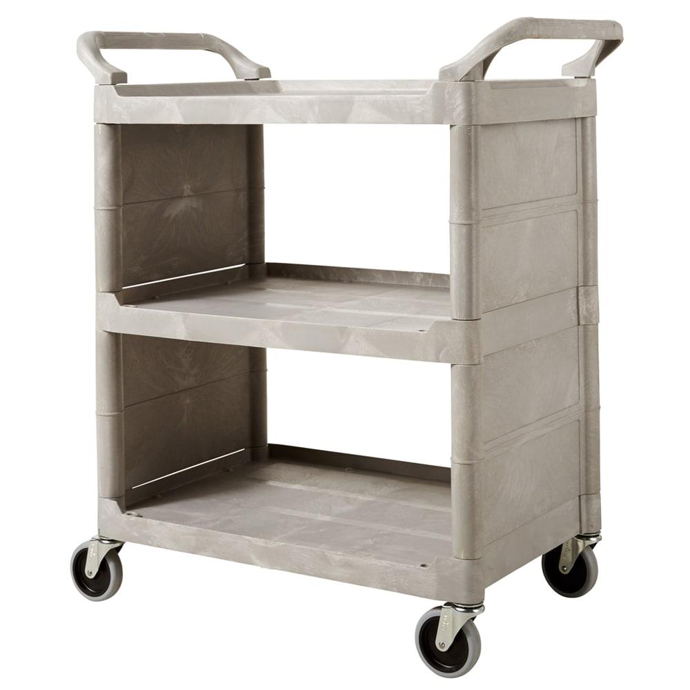 """Rubbermaid FG335588PLAT 31""""L Polymer Bus Cart w/ (3) Levels, Shelves, Platinum"""