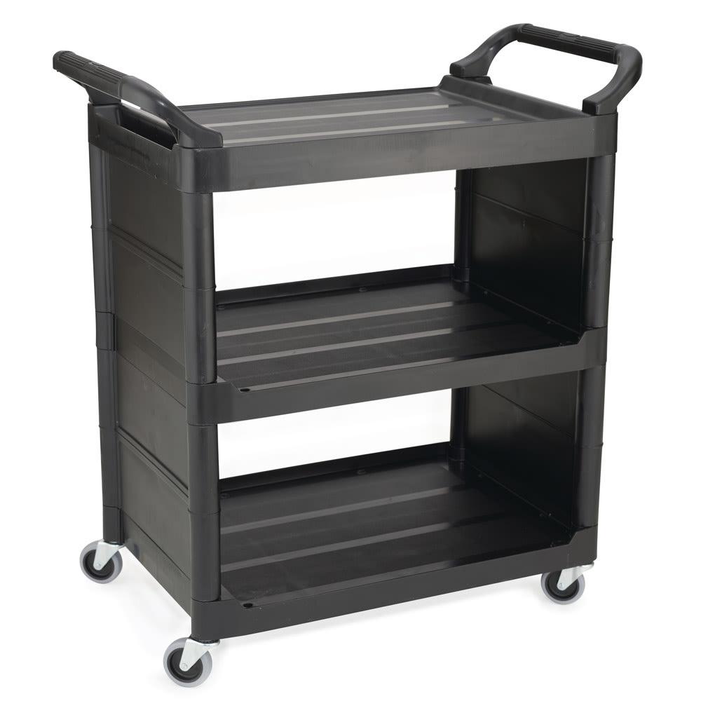"Rubbermaid FG342100BLA 33.625""L Polymer Bus Cart w/ (3) Levels, Shelves, Black"