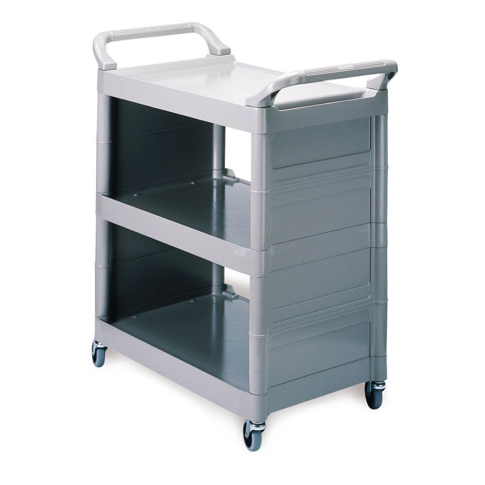 "Rubbermaid FG342100PLAT 33.625""L Polymer Bus Cart w/ (3) Levels, Shelves, Platinum"