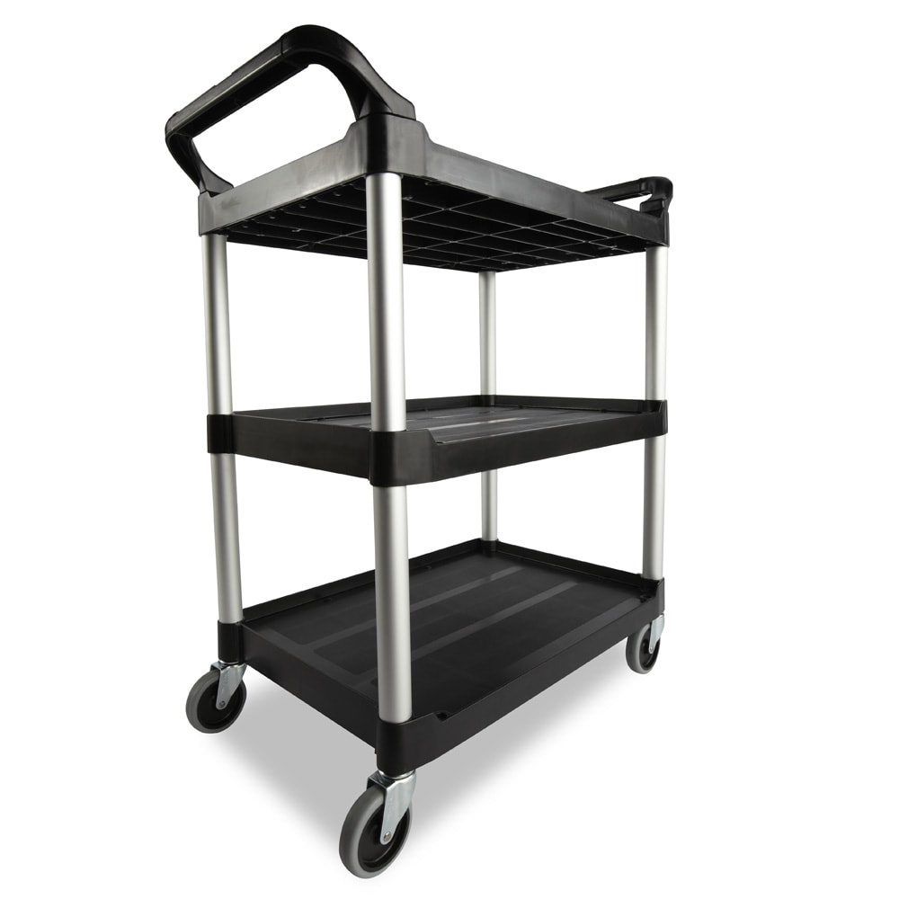 Rubbermaid FG342488BLA 3 Level Polymer Utility Cart w/ 200 lb Capacity, Raised Ledges
