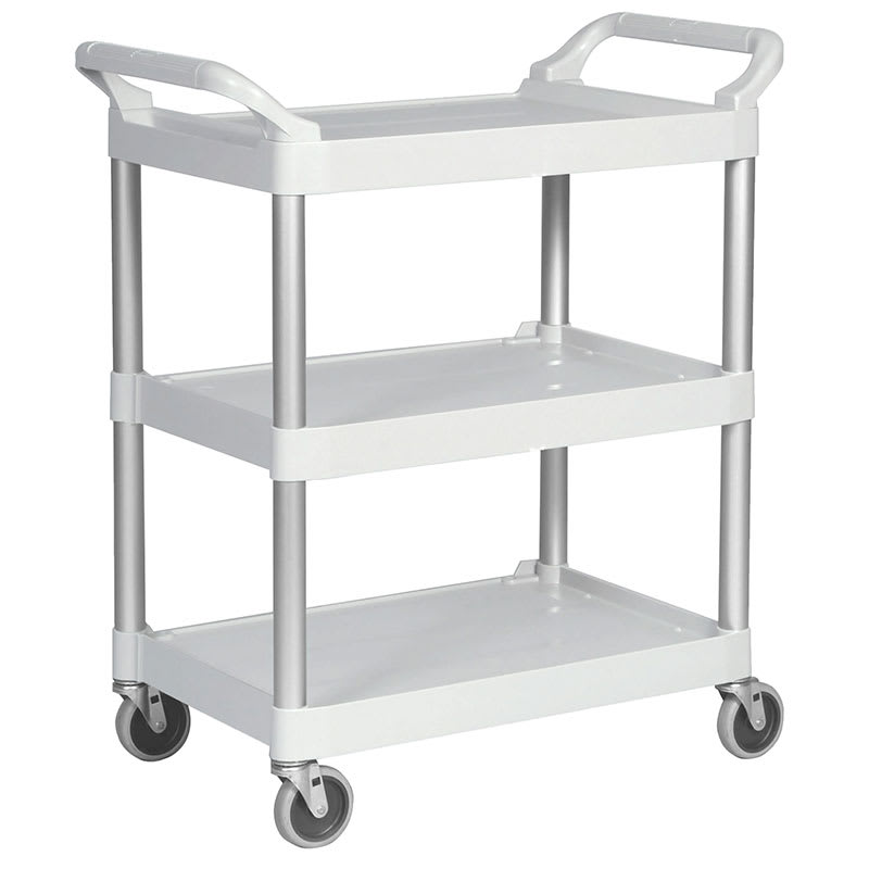 Rubbermaid FG342488OWHT 3-Level Polymer Utility Cart w/ 200-lb Capacity, Raised Ledges