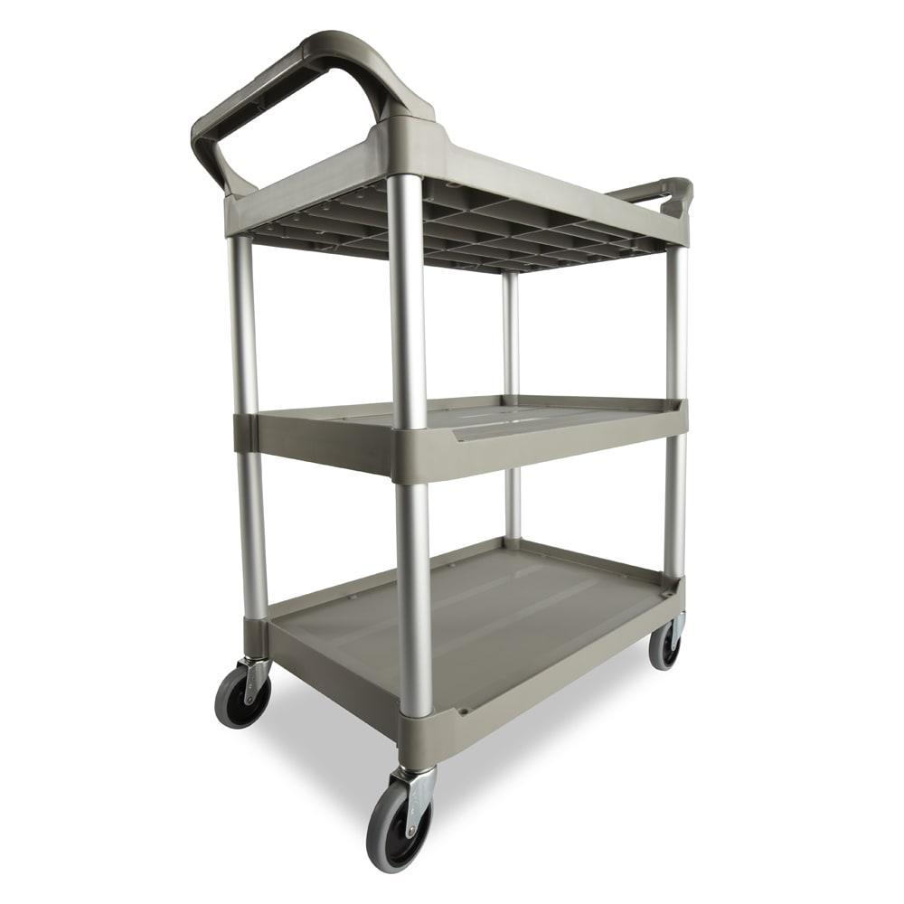 Rubbermaid FG342488PLAT 3 Level Polymer Utility Cart w/ 200 lb Capacity, Raised Ledges