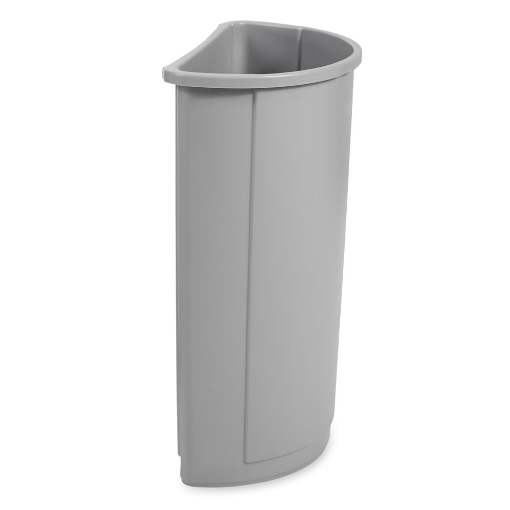 Rubbermaid FG352000GRAY 21 gallon Commercial Trash Can - Plastic, Half Round, Food Rated