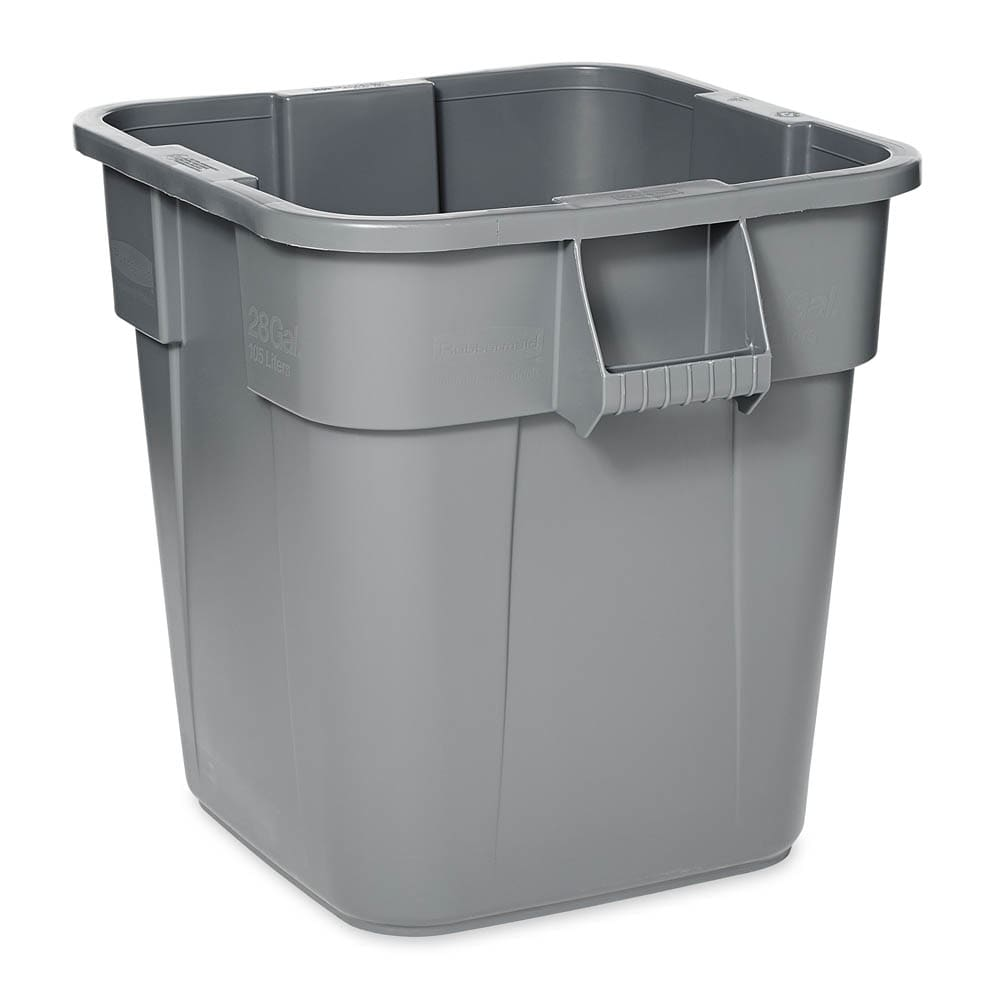 Rubbermaid FG352600GRAY 28-gallon Brute Trash Can - Plastic, Square, Built-in Handles