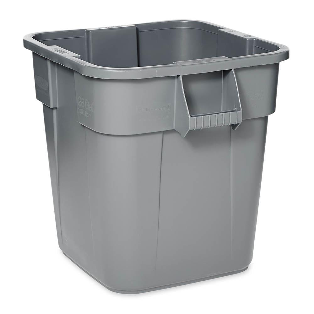 Rubbermaid FG352600GRAY 28 gallon Brute Trash Can - Plastic, Square, Built-in Handles