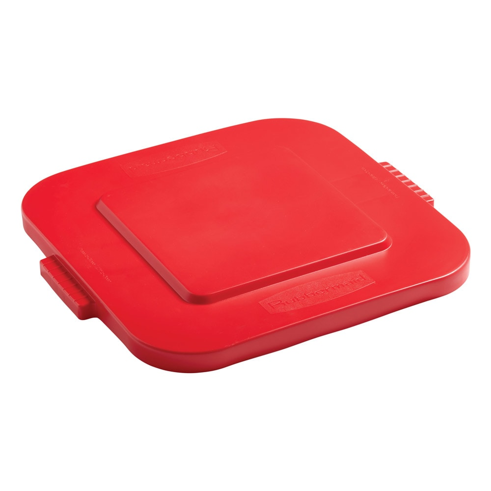 Rubbermaid FG352700RED Square Flat Trash Can Lid - Plastic, Red