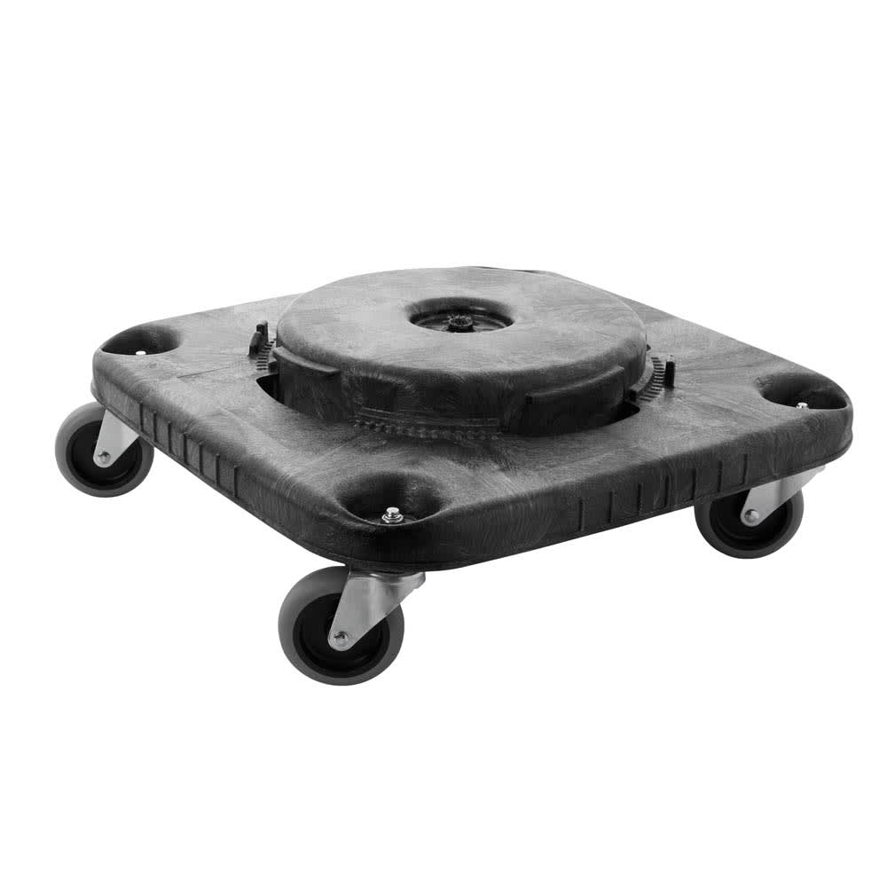 Rubbermaid FG353000BLA Square Plastic Trash Can Dolly w/ Raised Center & 250-lb Capacity
