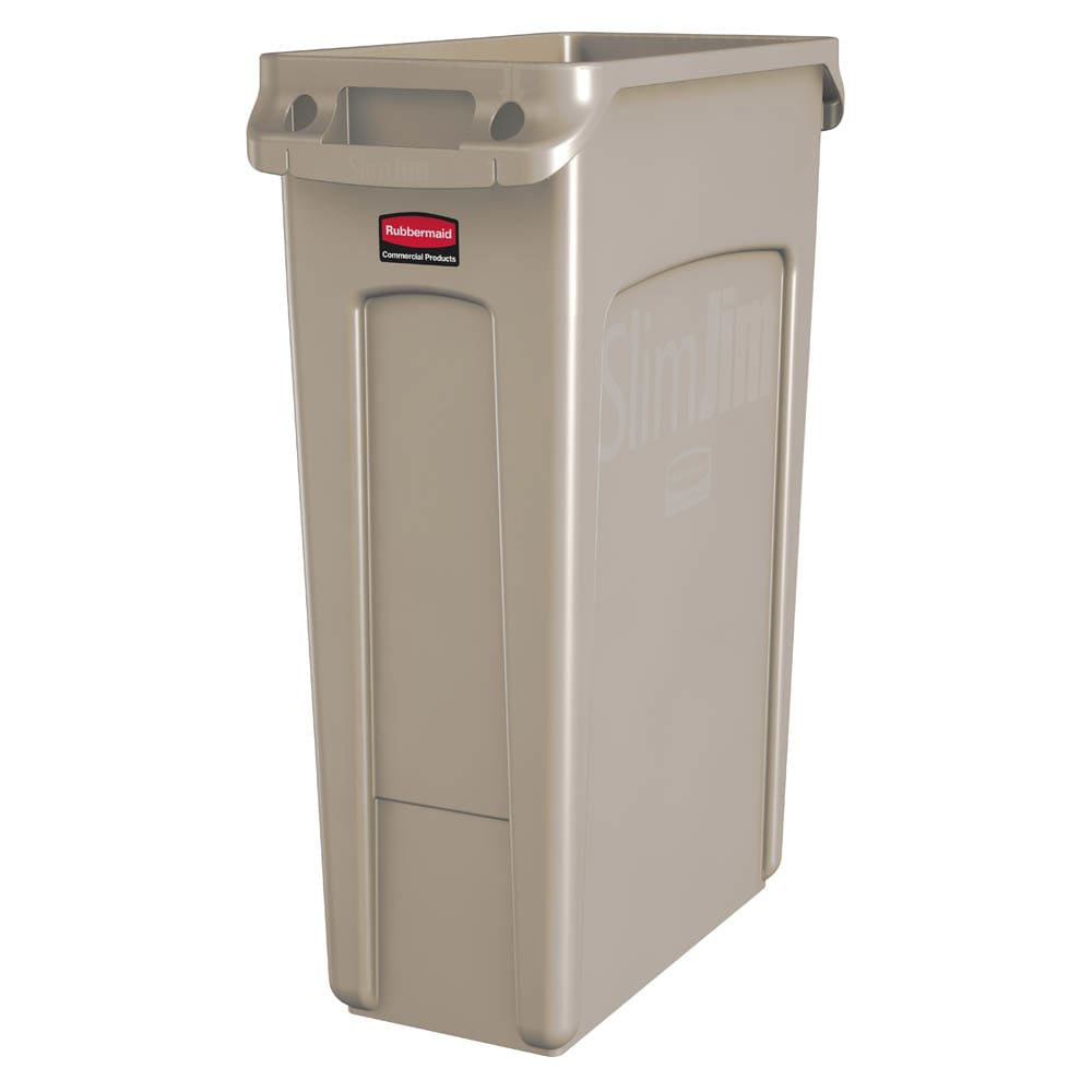 "Rubbermaid FG354060BEIG 23-gal Rectangle Slim Trash Can, 22""L x 11""W x 30""H, Beige"