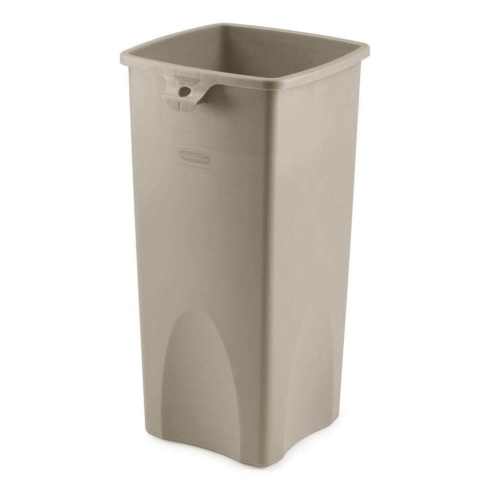 Rubbermaid FG356988BEIG 23-gallon Commercial Trash Can - Plastic, Square, Food Rated