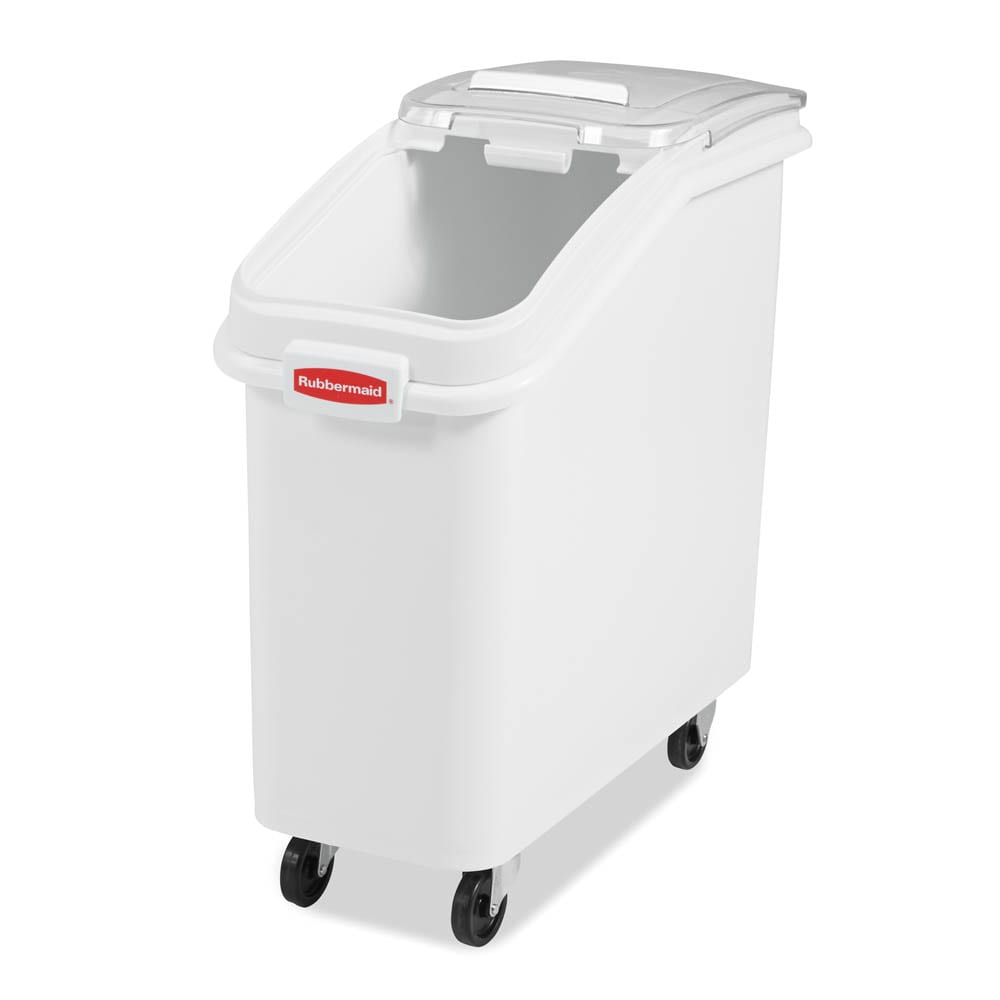 Rubbermaid FG360088WHT ProSave Ingredient Mobile Bin - 2-3/4 cu ft, White Base/Clear Lid