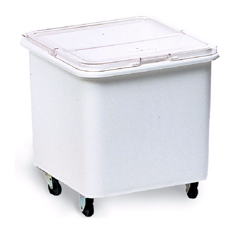 Rubbermaid 3601-BIN 28 Gallon Ingredient Bin, Sliding Hinged Lid, Mobile, White w/Clear Lid