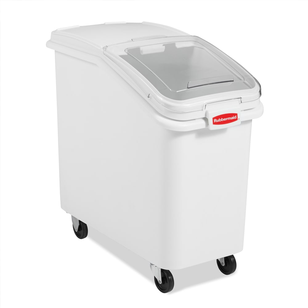 Rubbermaid FG360288WHT ProSave Ingredient Mobile Bin - 3 1/2 cu ft, White Base/Clear Lid