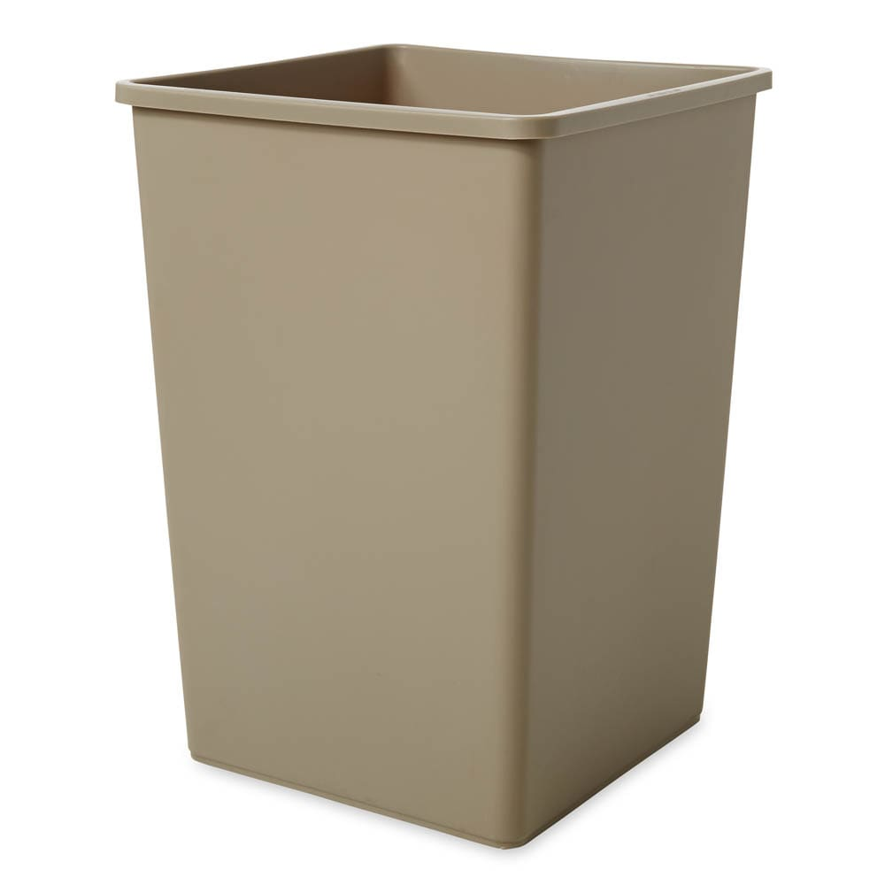 Rubbermaid FG395800BEIG 35-gallon Commercial Trash Can - Plastic, Square