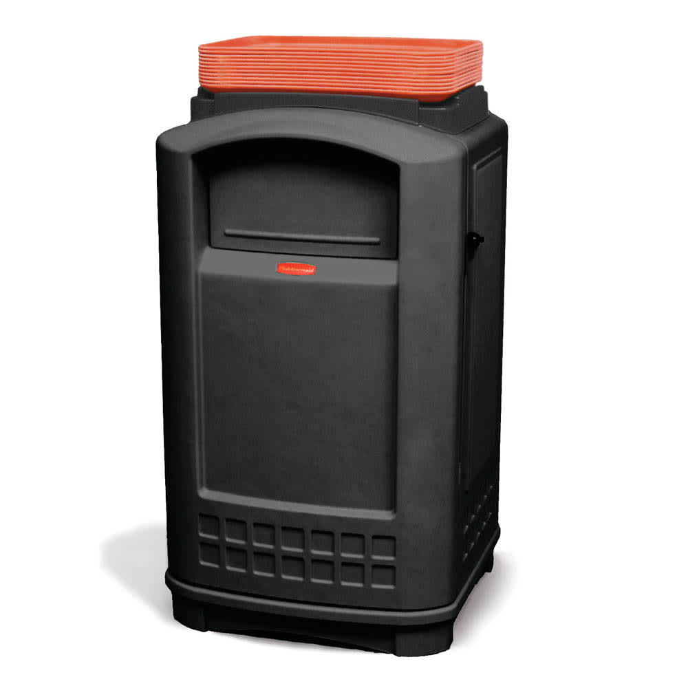 Rubbermaid FG396300BLA 50 gal Indoor/Outdoor Decorative Trash Can - Plastic, Black