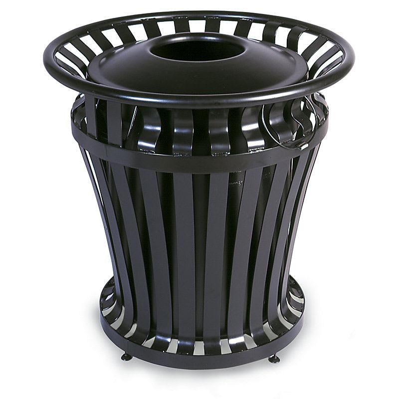 Rubbermaid FG402100BLA 32 gal Outdoor Decorative Trash Can - Metal, Black
