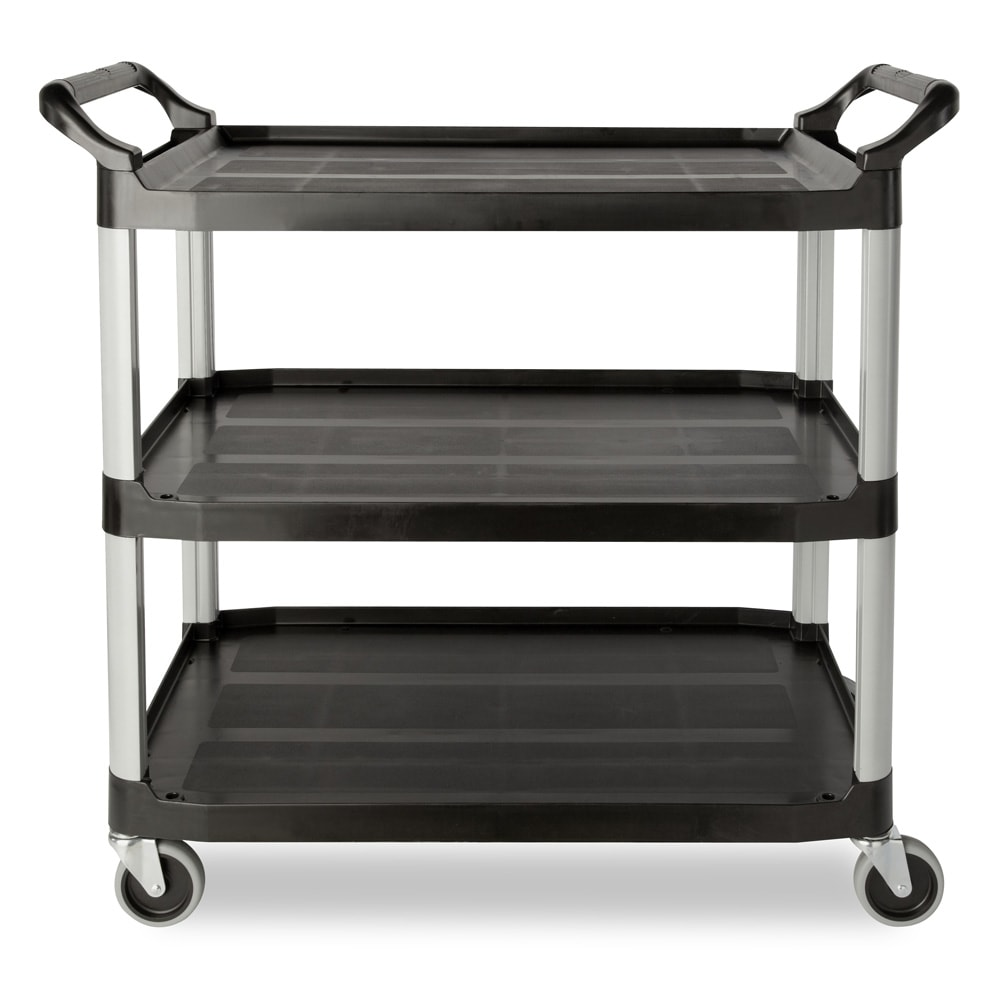Rubbermaid FG409100BLA 3-Level Polymer Utility Cart w/ 300-lb Capacity, Raised Ledges
