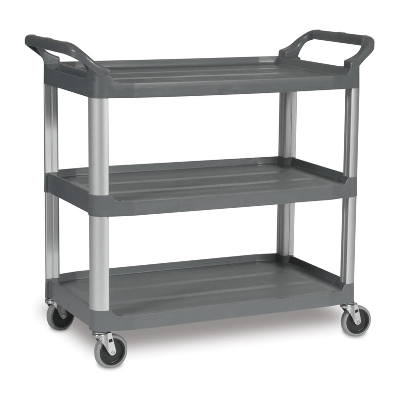 Rubbermaid FG409100GRAY 3-Level Polymer Utility Cart w/ 300-lb Capacity, Raised Ledges