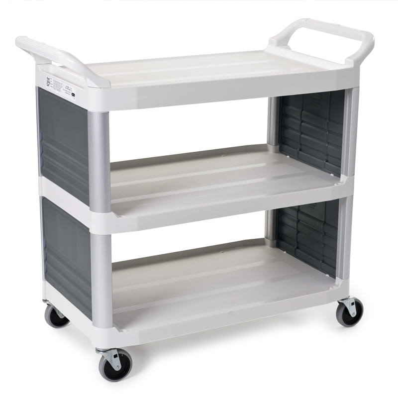 "Rubbermaid FG409200OWHT 40.625""L Polymer Bus Cart w/ (3) Levels, Shelves, White"