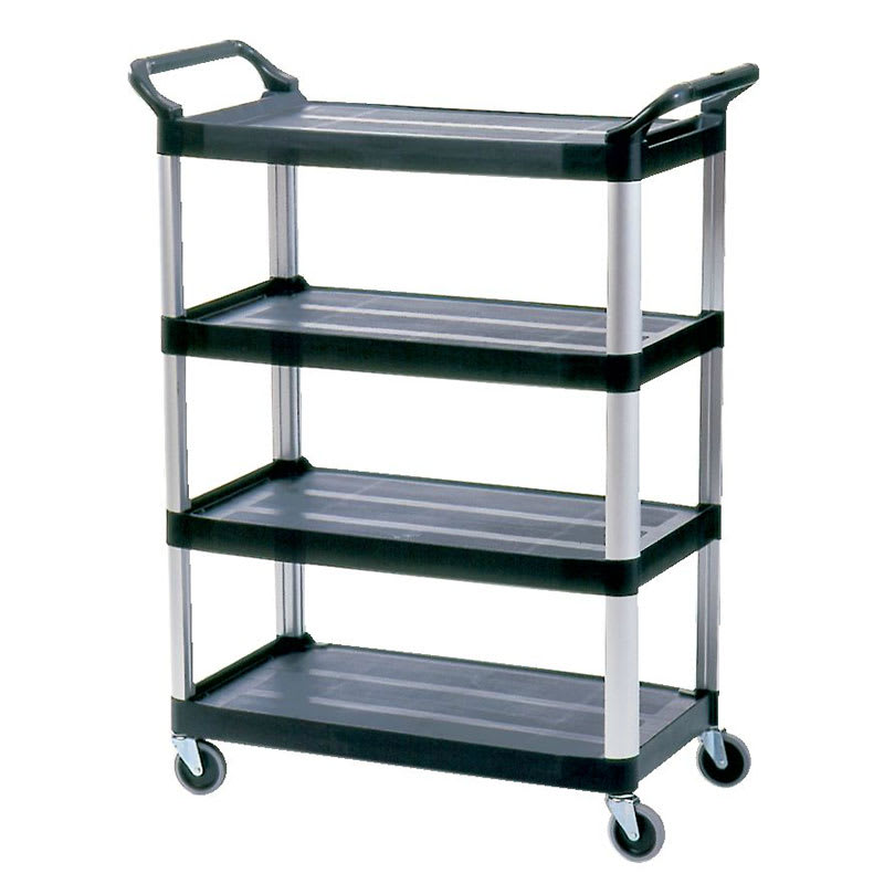 Rubbermaid FG409600BLA 3 Level Polymer Utility Cart w/ 300 lb Capacity, Raised Ledges