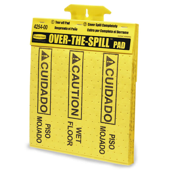 """Rubbermaid FG425400YEL Over-the-Spill Pad Tablet - """"Caution Wet Floor"""" 16-1/2x14"""" Yellow"""