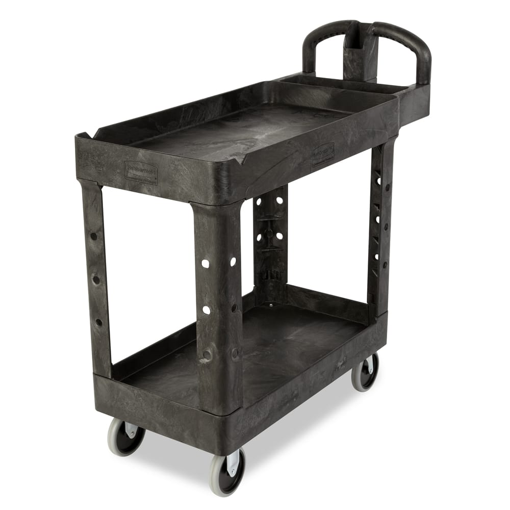 Rubbermaid FG450088BLA 2-Level Polymer Utility Cart w/ 500-lb Capacity, Raised Ledges