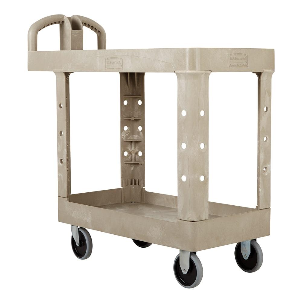 Rubbermaid FG450500BEIG 2-Level Polymer Utility Cart w/ 500-lb Capacity, Flat Ledges
