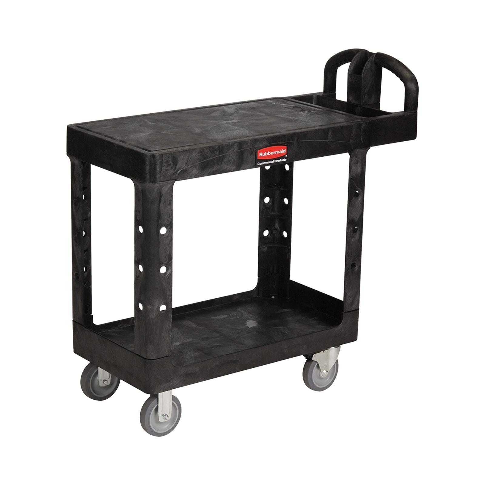 Rubbermaid FG450500BLA 2-Level Polymer Utility Cart w/ 500-lb Capacity, Flat Ledges