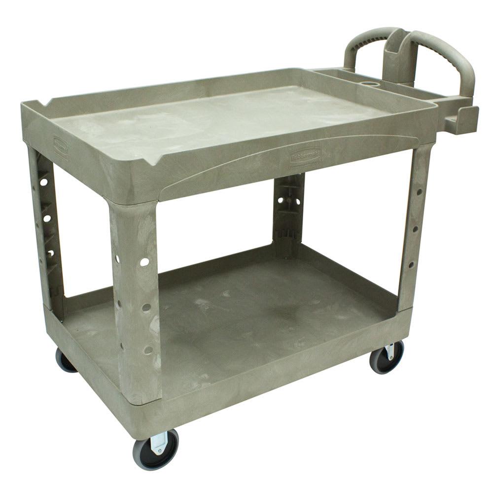 Rubbermaid FG452088BEIG 2 Level Polymer Utility Cart w/ 500 lb Capacity, Raised Ledges