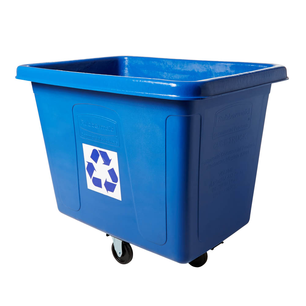 Rubbermaid FG461673BLUE 103.2-gal Multiple Material Recycle Bin - Indoor, Wheels