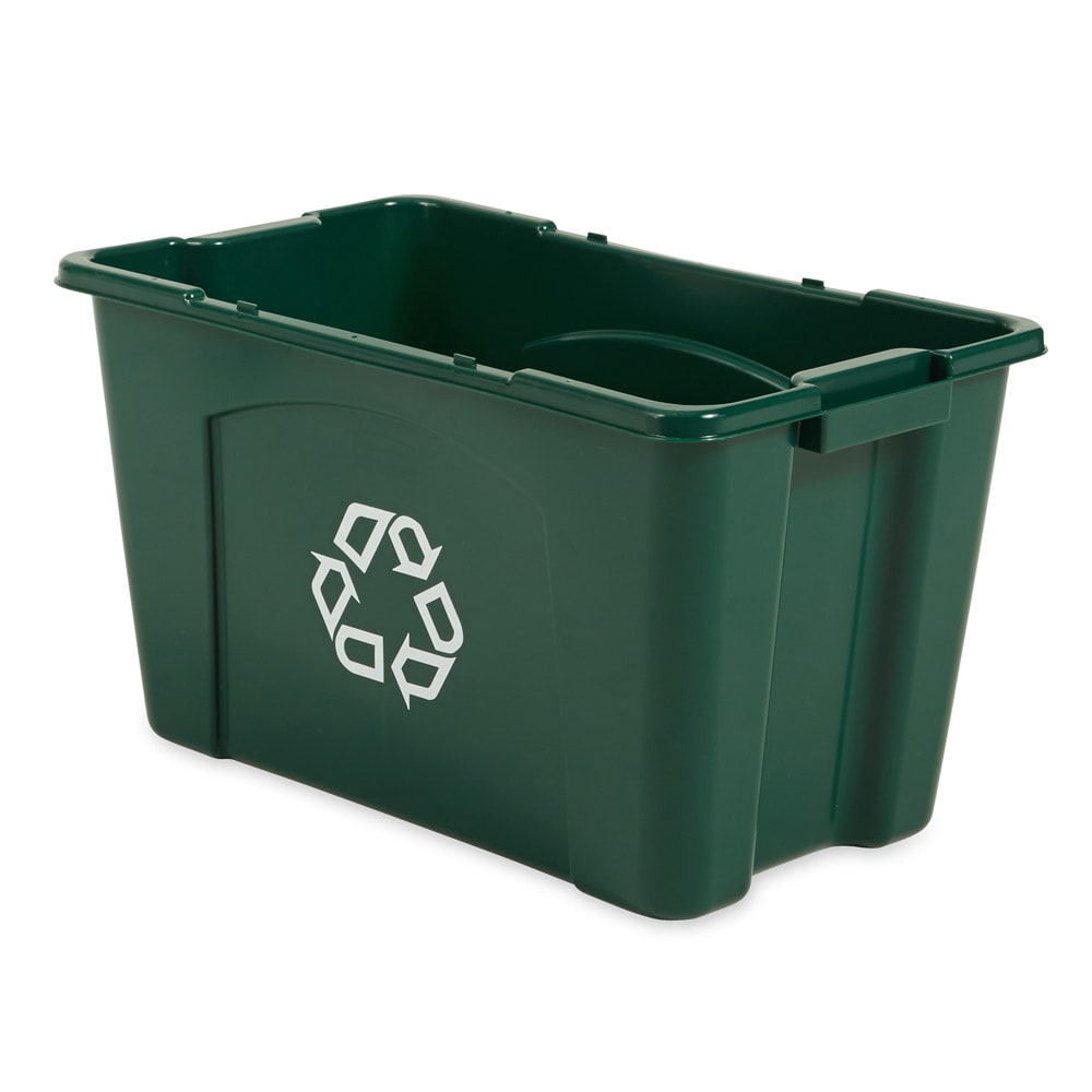 Rubbermaid FG571873GRN 18-gal Multiple Material Recycle Bin - Indoor